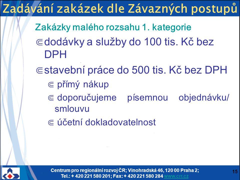 Centrum pro regionální rozvoj ČR; Vinohradská 46, 120 00 Praha 2; Tel.: + 420 221 580 201; Fax: + 420 221 580 284 www.crr.czwww.crr.cz 15 Zakázky malé