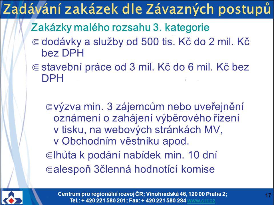 Centrum pro regionální rozvoj ČR; Vinohradská 46, 120 00 Praha 2; Tel.: + 420 221 580 201; Fax: + 420 221 580 284 www.crr.czwww.crr.cz 17 Zakázky malé