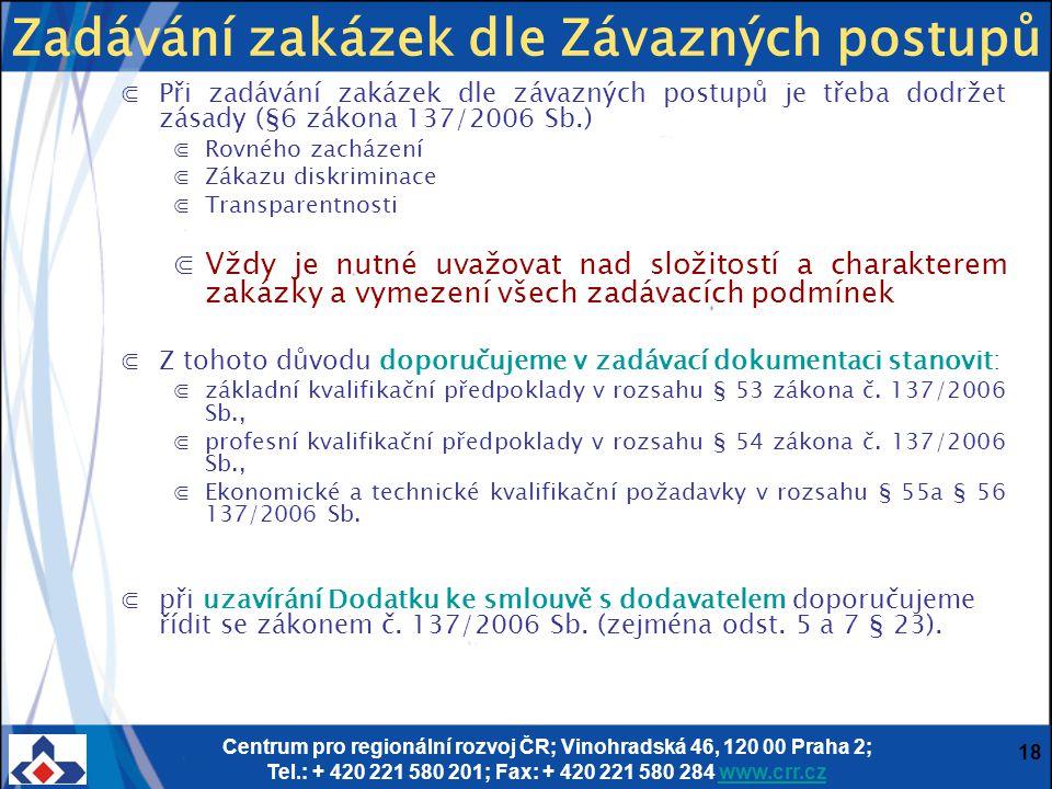Centrum pro regionální rozvoj ČR; Vinohradská 46, 120 00 Praha 2; Tel.: + 420 221 580 201; Fax: + 420 221 580 284 www.crr.czwww.crr.cz 18 ⋐Při zadáván