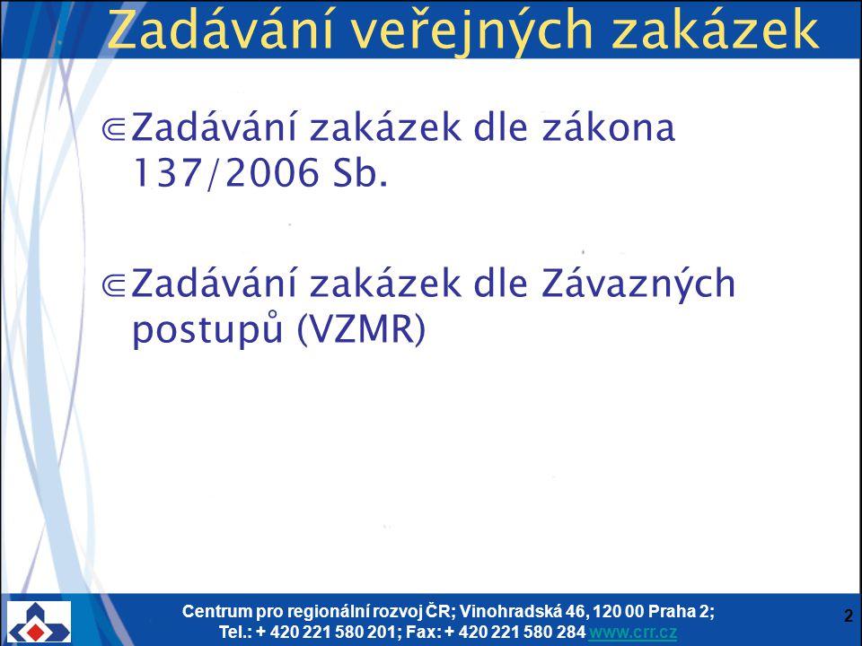 Centrum pro regionální rozvoj ČR; Vinohradská 46, 120 00 Praha 2; Tel.: + 420 221 580 201; Fax: + 420 221 580 284 www.crr.czwww.crr.cz 2 Zadávání veře