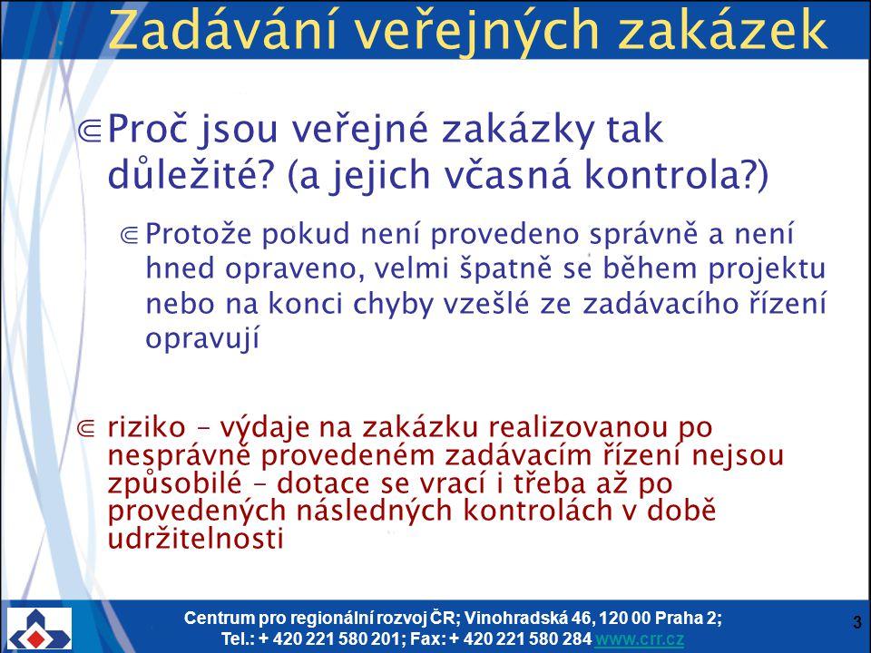 """Centrum pro regionální rozvoj ČR; Vinohradská 46, 120 00 Praha 2; Tel.: + 420 221 580 201; Fax: + 420 221 580 284 www.crr.czwww.crr.cz 4 ⋐Jde o použití veřejných finančních prostředků ze SR a SF – povinnost zadávat v souladu s legislativou a pravidly a principy zadávání v EU – každé vynaložené € musí být zadáno transparentně, nediskriminačně a musí být dokontrolovatelné ⋐podceňovat roli kontroly zadávacího řízení by se nemuselo vyplatit – na (zkontrolovaných) tendrech projekty ze SF stojí (i financování ze SF obecně) ⋐Šance, že tendr v projektech financovaných z EU bude zkontrolován, je mnohonásobně větší, než u """"nedotovaných projektů, kde hrozí jen kontrola ÚOHS Zadávání veřejných zakázek"""