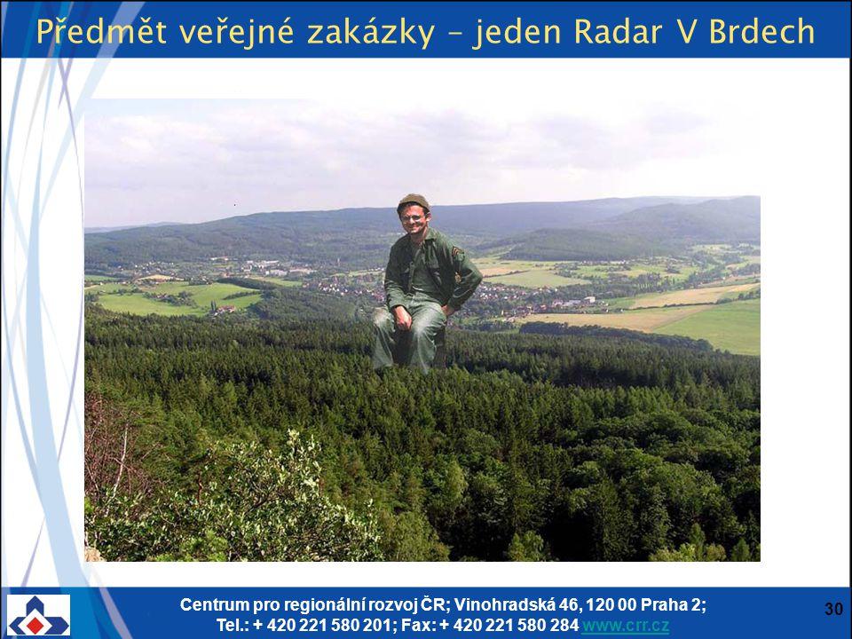 Centrum pro regionální rozvoj ČR; Vinohradská 46, 120 00 Praha 2; Tel.: + 420 221 580 201; Fax: + 420 221 580 284 www.crr.czwww.crr.cz 30 Předmět veře