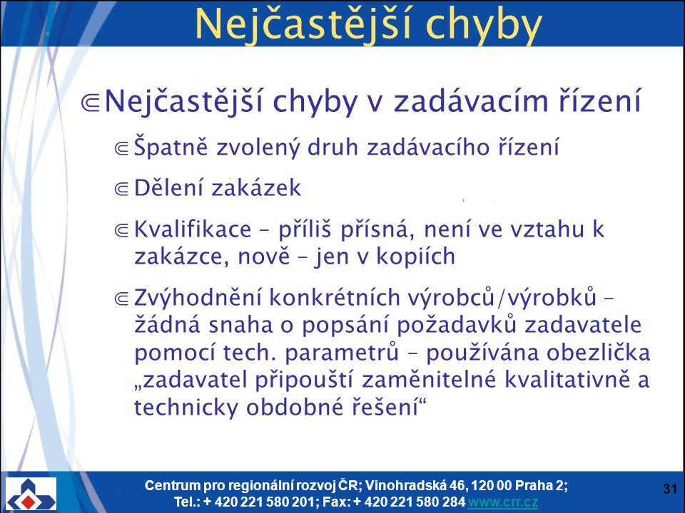 Centrum pro regionální rozvoj ČR; Vinohradská 46, 120 00 Praha 2; Tel.: + 420 221 580 201; Fax: + 420 221 580 284 www.crr.czwww.crr.cz 31 Nejčastější