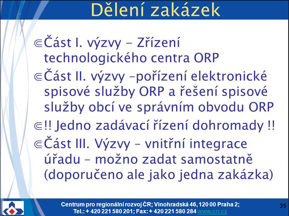 Centrum pro regionální rozvoj ČR; Vinohradská 46, 120 00 Praha 2; Tel.: + 420 221 580 201; Fax: + 420 221 580 284 www.crr.czwww.crr.cz 35 Dělení zakáz
