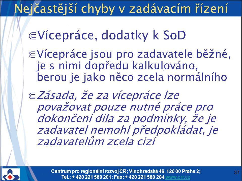 Centrum pro regionální rozvoj ČR; Vinohradská 46, 120 00 Praha 2; Tel.: + 420 221 580 201; Fax: + 420 221 580 284 www.crr.czwww.crr.cz 37 Nejčastější