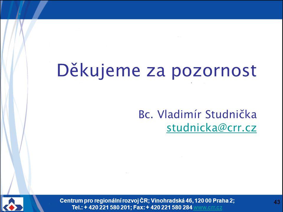 Centrum pro regionální rozvoj ČR; Vinohradská 46, 120 00 Praha 2; Tel.: + 420 221 580 201; Fax: + 420 221 580 284 www.crr.czwww.crr.cz 43 Děkujeme za