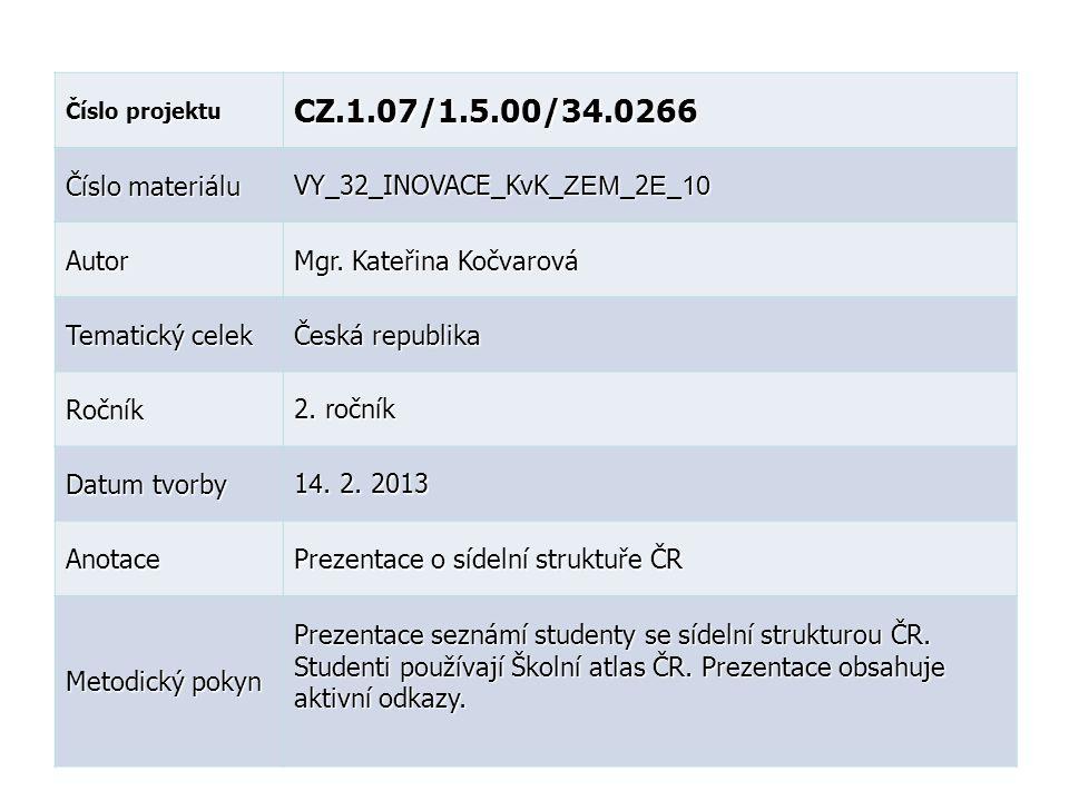 Číslo projektu CZ.1.07/1.5.00/34.0266 Číslo materiálu VY_32_INOVACE_KvK_ ZEM _2 E _ 10 Autor Mgr.