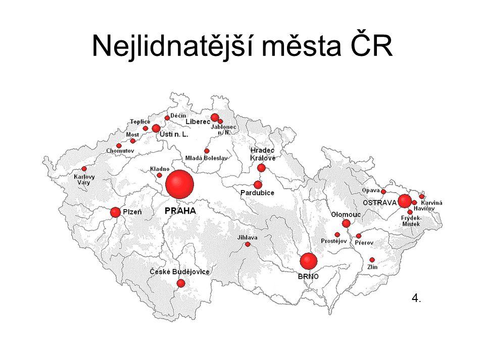Nejlidnatější města ČR 4.