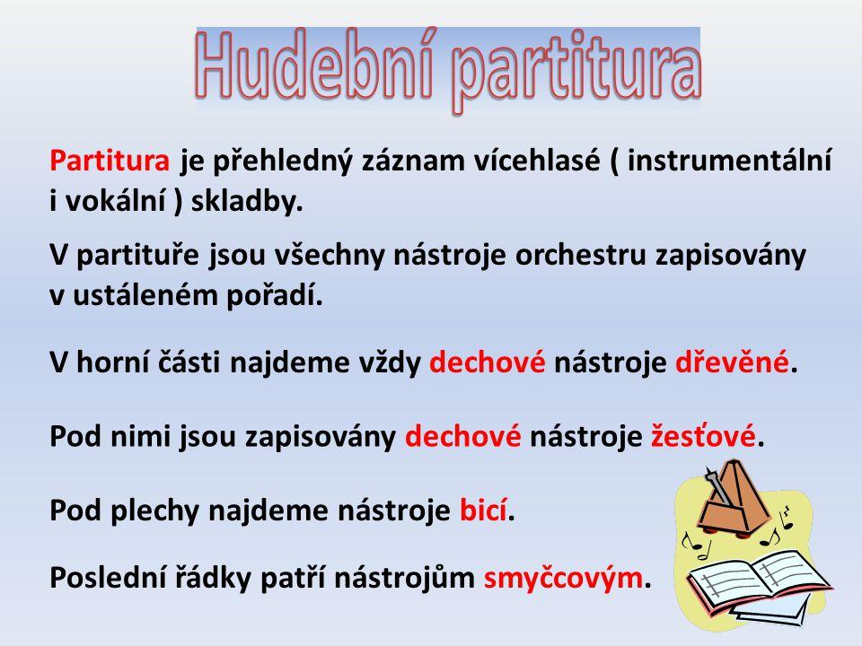 Partitura je přehledný záznam vícehlasé ( instrumentální i vokální ) skladby. V partituře jsou všechny nástroje orchestru zapisovány v ustáleném pořad