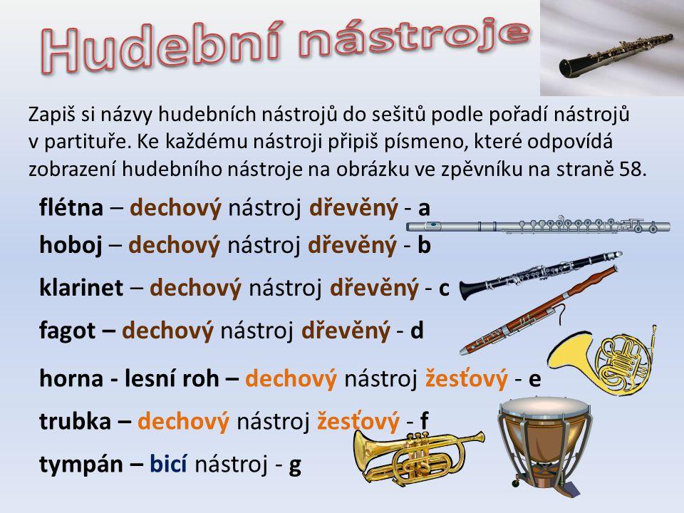 housle – strunný nástroj smyčcový - h viola – strunný nástroj smyčcový - i violoncello – strunný nástroj smyčcový - j kontrabas – strunný nástroj smyčcový - ch