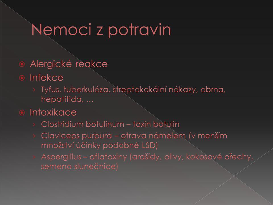  Alergické reakce  Infekce › Tyfus, tuberkulóza, streptokokální nákazy, obrna, hepatitida, …  Intoxikace › Clostridium botulinum – toxin botulin ›