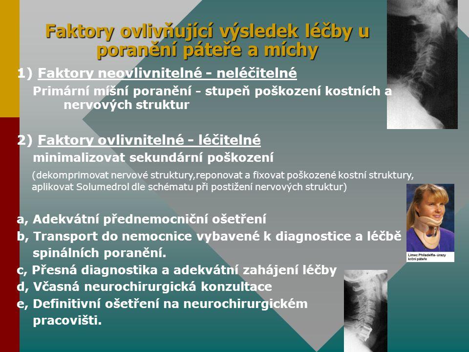 Faktory ovlivňující výsledek léčby u poranění páteře a míchy 1) Faktory neovlivnitelné - neléčitelné Primární míšní poranění - stupeň poškození kostní