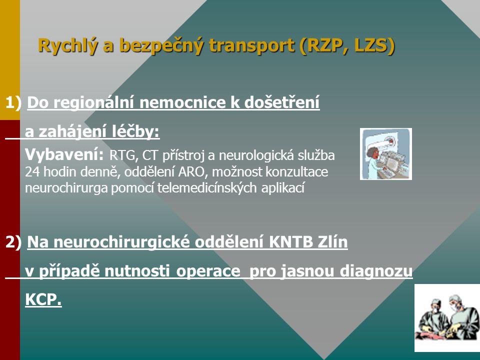 Rychlý a bezpečný transport (RZP, LZS) 1) Do regionální nemocnice k došetření a zahájení léčby: Vybavení: RTG, CT přístroj a neurologická služba 24 ho