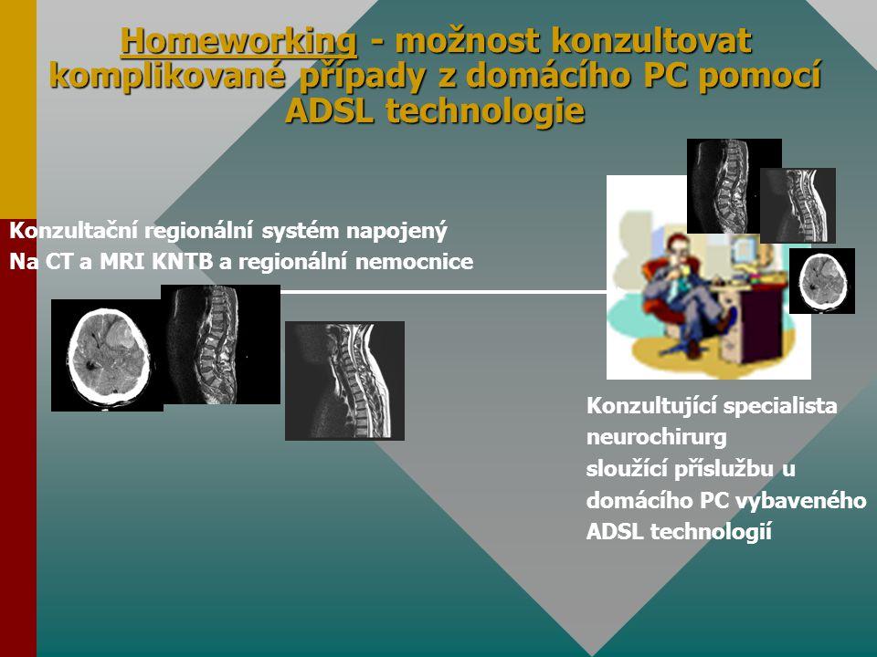 Homeworking - možnost konzultovat komplikované případy z domácího PC pomocí ADSL technologie Konzultační regionální systém napojený Na CT a MRI KNTB a