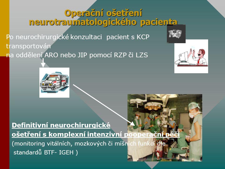 Operační ošetření neurotraumatologického pacienta Definitivní neurochirurgické ošetření s komplexní intenzivní pooperační péčí (monitoring vitálních,