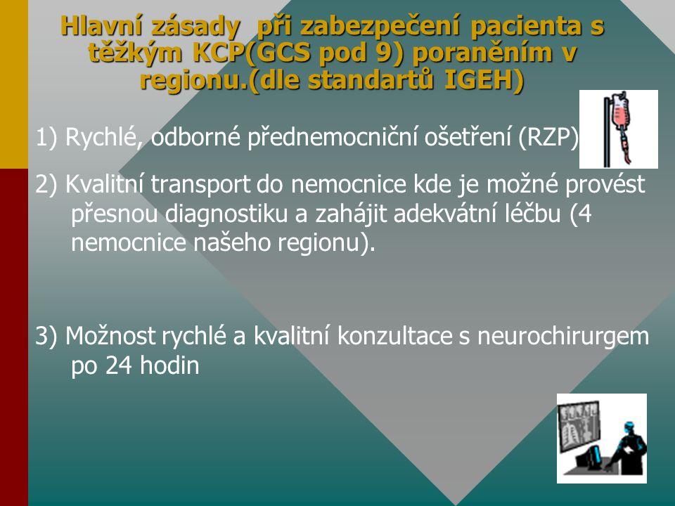 A,Adekvátní přednemocniční péče u KCP (zajišťuje RZP) 1) Udržení okysličení (oxygenace) mozkové tkáně péče o ventilaci (zajištění volných dýchacích cest, intubace, řízená ventilace 2) Udržení prokrvení (perfuze) mozkové tkáně péče o krevní oběh (udržovat systolický tlak nad 90 mmHg, zabránit krevním ztrátám, doplnění tekutin infuzemi) 3) Snížení intrakraniálního tlaku (ICP) v mozkové tkáni hlava do zvýšené polohy (10° - 20°) prevence zvracení 4) Zabránění rozvoje šokového stavu klidový režim, stabilizovaná poloha, sledovat stav vědomí, orientační neurologické vyšetření, infúzní terapie