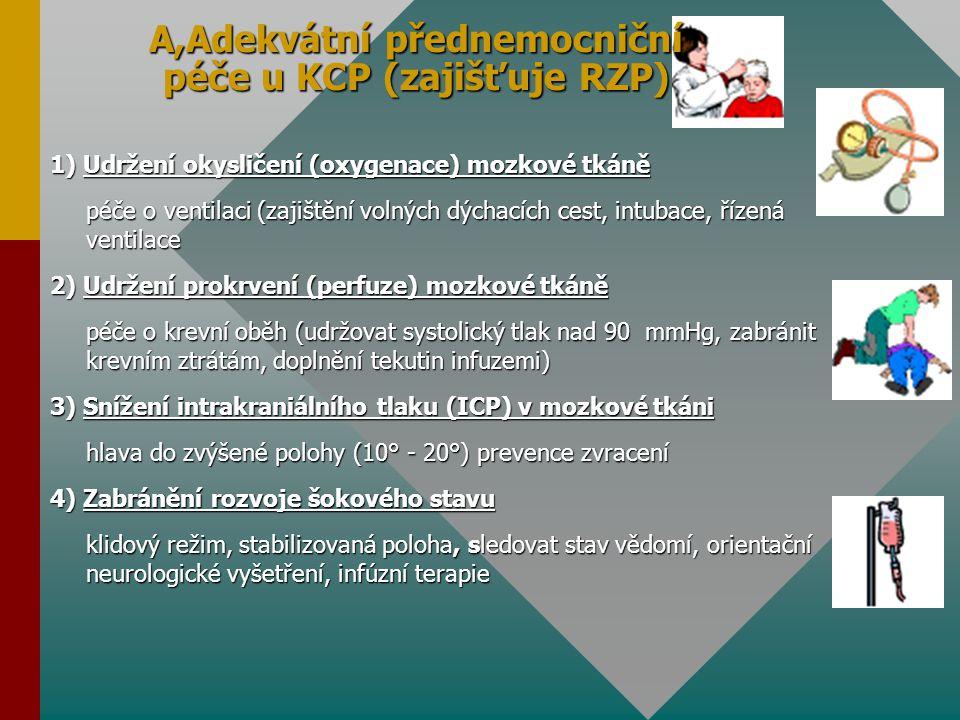 A,Adekvátní přednemocniční péče u KCP (zajišťuje RZP) 1) Udržení okysličení (oxygenace) mozkové tkáně péče o ventilaci (zajištění volných dýchacích ce