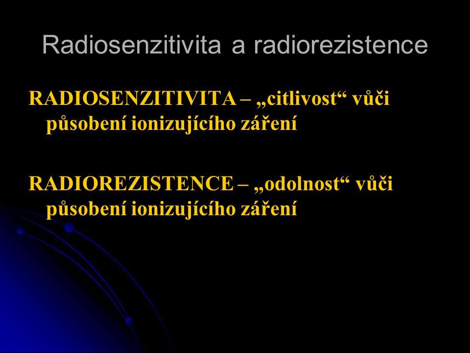 """Radiosenzitivita a radiorezistence RADIOSENZITIVITA – """"citlivost vůči působení ionizujícího záření RADIOREZISTENCE – """"odolnost vůči působení ionizujícího záření"""