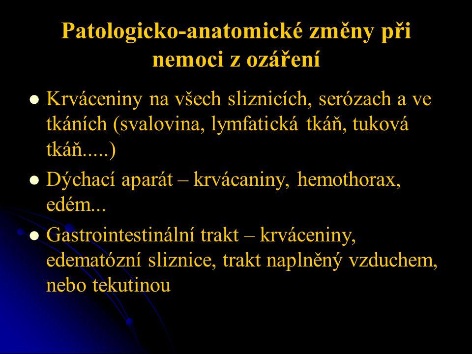 Patologicko-anatomické změny při nemoci z ozáření   Krváceniny na všech sliznicích, serózach a ve tkáních (svalovina, lymfatická tkáň, tuková tkáň.....)   Dýchací aparát – krvácaniny, hemothorax, edém...