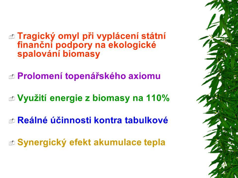  Tragický omyl při vyplácení státní finanční podpory na ekologické spalování biomasy  Prolomení topenářského axiomu  Využití energie z biomasy na 1