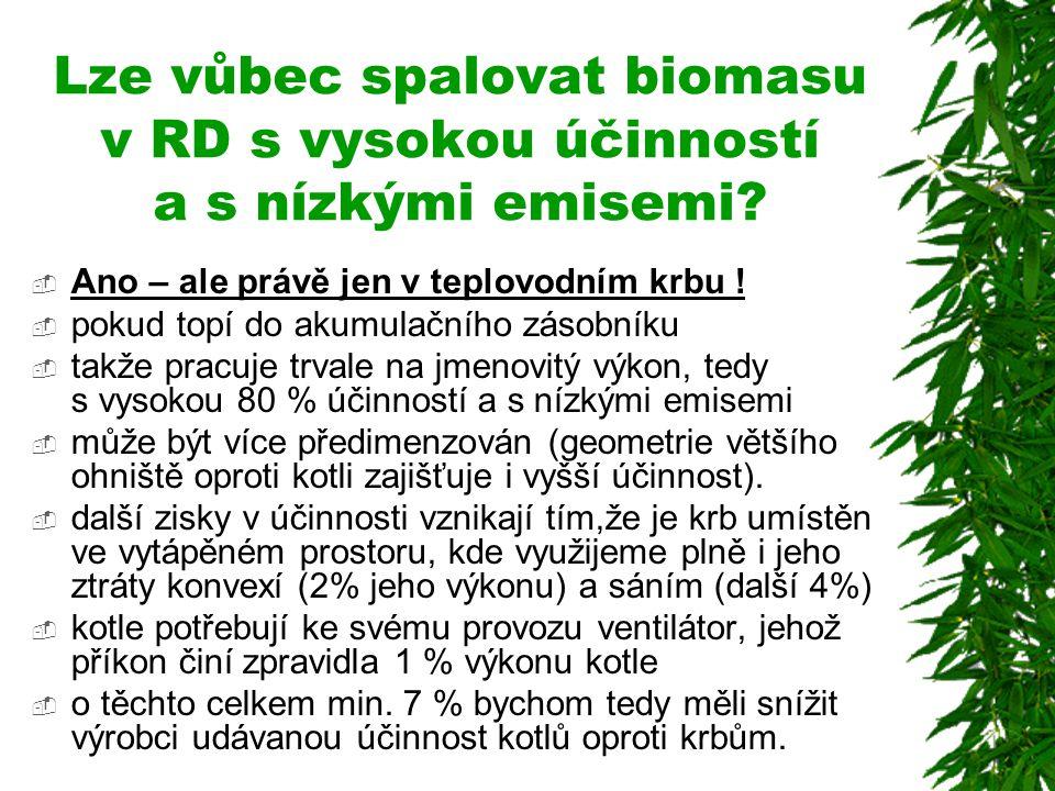 Lze vůbec spalovat biomasu v RD s vysokou účinností a s nízkými emisemi?  Ano – ale právě jen v teplovodním krbu !  pokud topí do akumulačního zásob