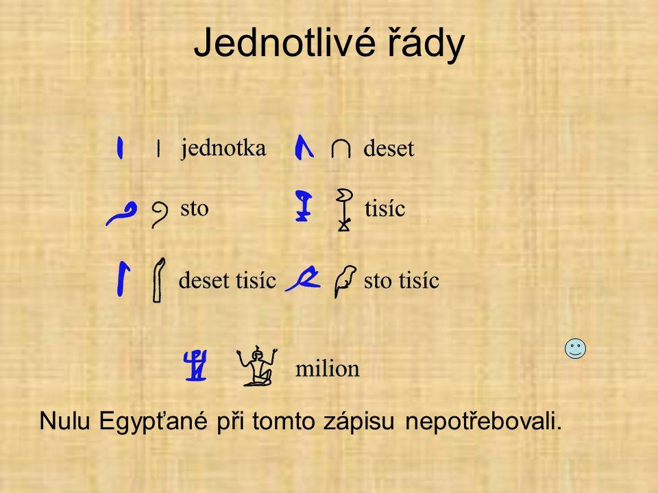 Jednotlivé řády Nulu Egypťané při tomto zápisu nepotřebovali.