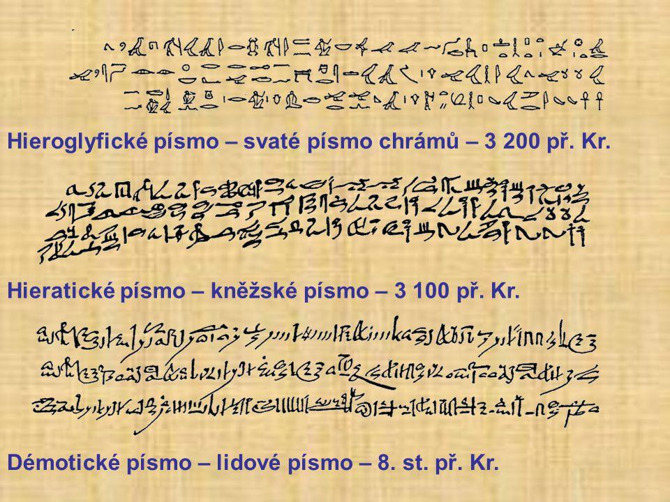 Hieroglyfické písmo – svaté písmo chrámů – 3 200 př.