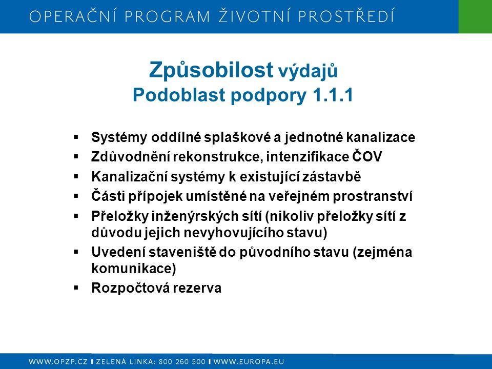 Způsobilost výdajů Podoblast podpory 1.1.1  Systémy oddílné splaškové a jednotné kanalizace  Zdůvodnění rekonstrukce, intenzifikace ČOV  Kanalizačn