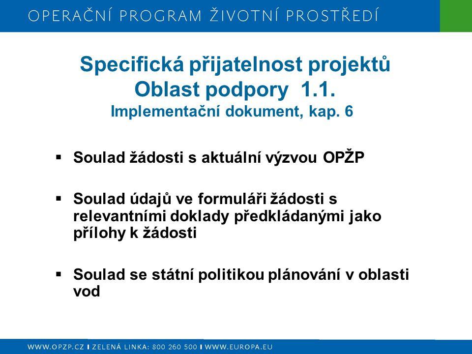Specifická přijatelnost projektů Oblast podpory 1.1. Implementační dokument, kap. 6  Soulad žádosti s aktuální výzvou OPŽP  Soulad údajů ve formulář