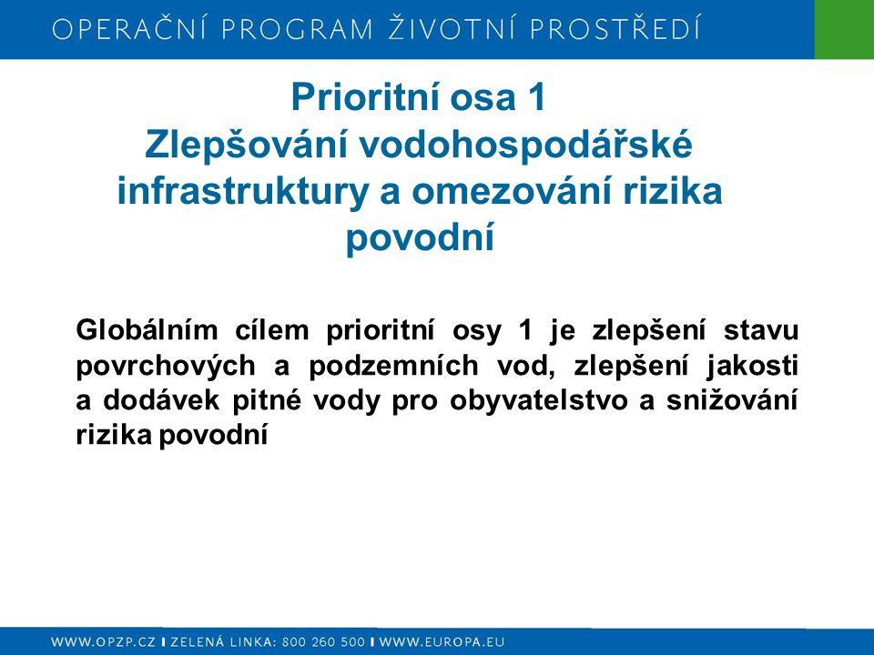 Prioritní osa 1 Zlepšování vodohospodářské infrastruktury a omezování rizika povodní Globálním cílem prioritní osy 1 je zlepšení stavu povrchových a p