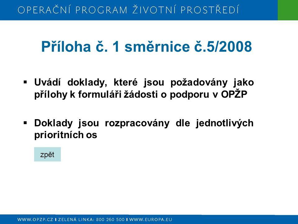 Příloha č. 1 směrnice č.5/2008  Uvádí doklady, které jsou požadovány jako přílohy k formuláři žádosti o podporu v OPŽP  Doklady jsou rozpracovány dl