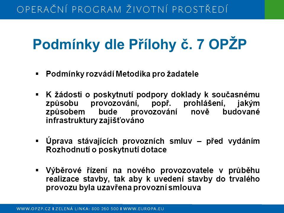 Podmínky dle Přílohy č. 7 OPŽP  Podmínky rozvádí Metodika pro žadatele  K žádosti o poskytnutí podpory doklady k současnému způsobu provozování, pop
