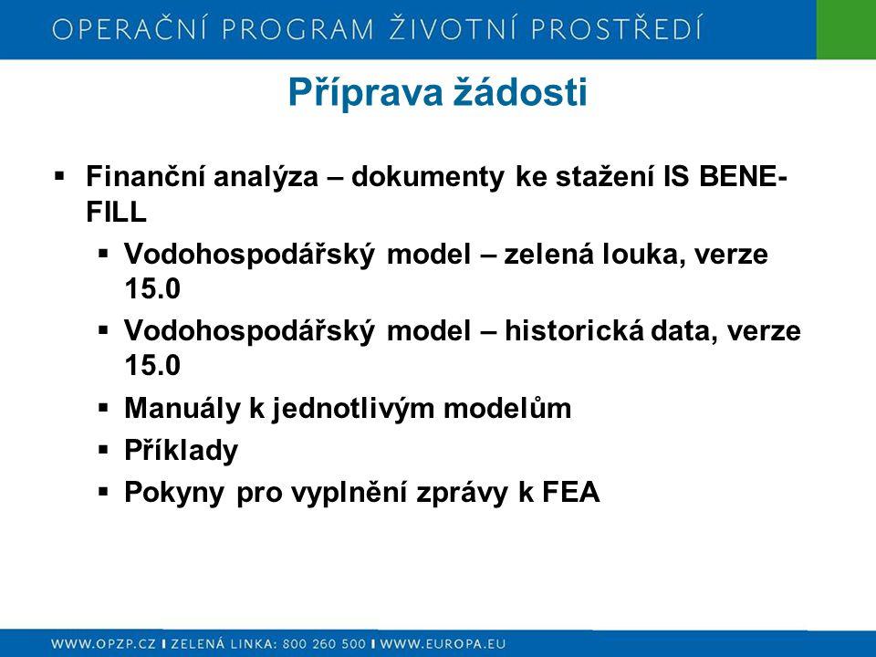 Příprava žádosti  Finanční analýza – dokumenty ke stažení IS BENE- FILL  Vodohospodářský model – zelená louka, verze 15.0  Vodohospodářský model – historická data, verze 15.0  Manuály k jednotlivým modelům  Příklady  Pokyny pro vyplnění zprávy k FEA