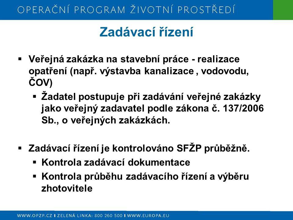 Zadávací řízení  Veřejná zakázka na stavební práce - realizace opatření (např.