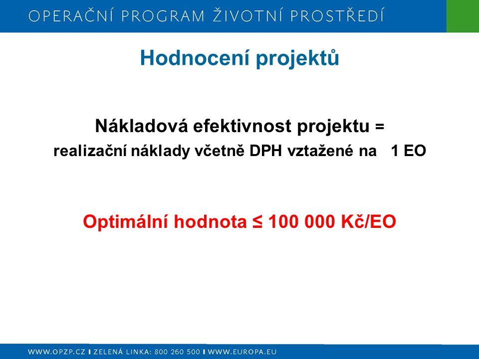 Hodnocení projektů Nákladová efektivnost projektu = realizační náklady včetně DPH vztažené na 1 EO Optimální hodnota ≤ 100 000 Kč/EO