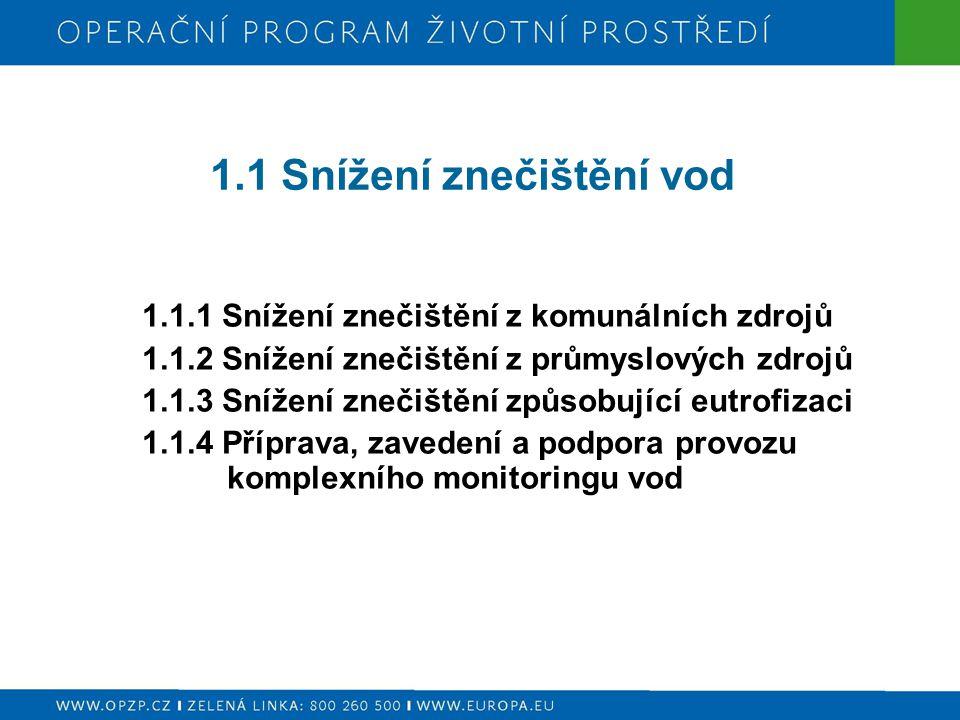 1.1.1 Snížení znečištění z komunálních zdrojů  výstavba, rekonstrukce a intenzifikace centrálních ČOV v aglomeracích nad 2000 EO včetně zavedení odstraňování dusíku a celkového fosforu a vhodného řešení kalového hospodářství v souladu s platnými předpisy ČR i EU  výstavba, rekonstrukce a dostavba stokových systémů sloužících veřejné potřebě v aglomeracích nad 2000 EO