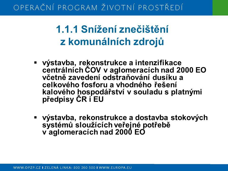 1.1.1 Snížení znečištění z komunálních zdrojů  výstavba, rekonstrukce a intenzifikace centrálních ČOV v aglomeracích nad 2000 EO včetně zavedení odst