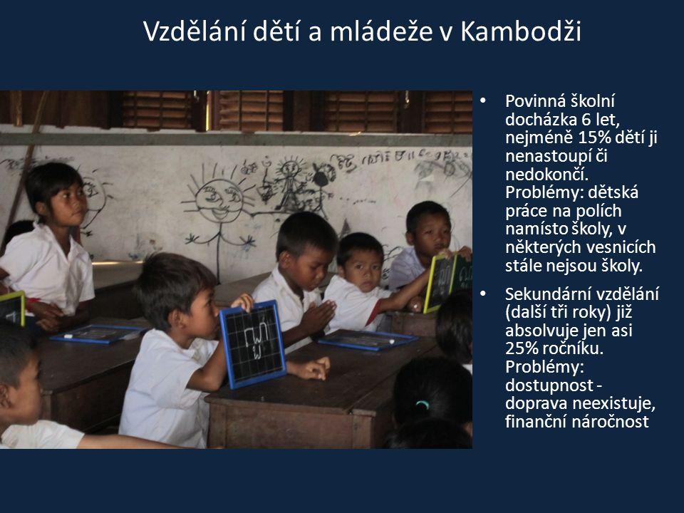 • Povinná školní docházka 6 let, nejméně 15% dětí ji nenastoupí či nedokončí. Problémy: dětská práce na polích namísto školy, v některých vesnicích st