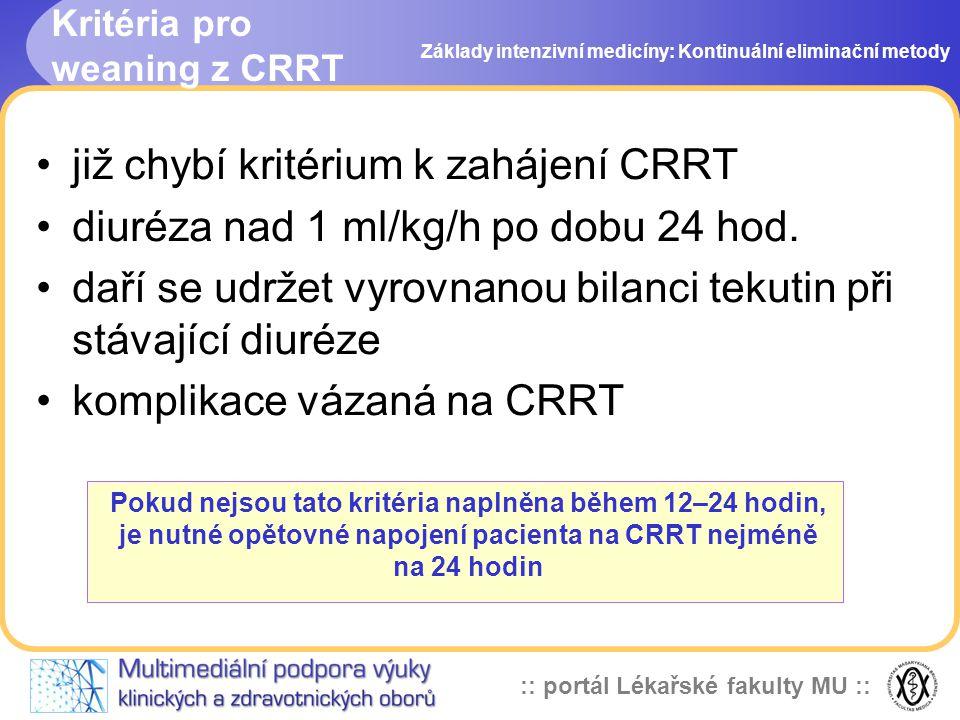 :: portál Lékařské fakulty MU :: Kritéria pro weaning z CRRT •již chybí kritérium k zahájení CRRT •diuréza nad 1 ml/kg/h po dobu 24 hod. •daří se udrž