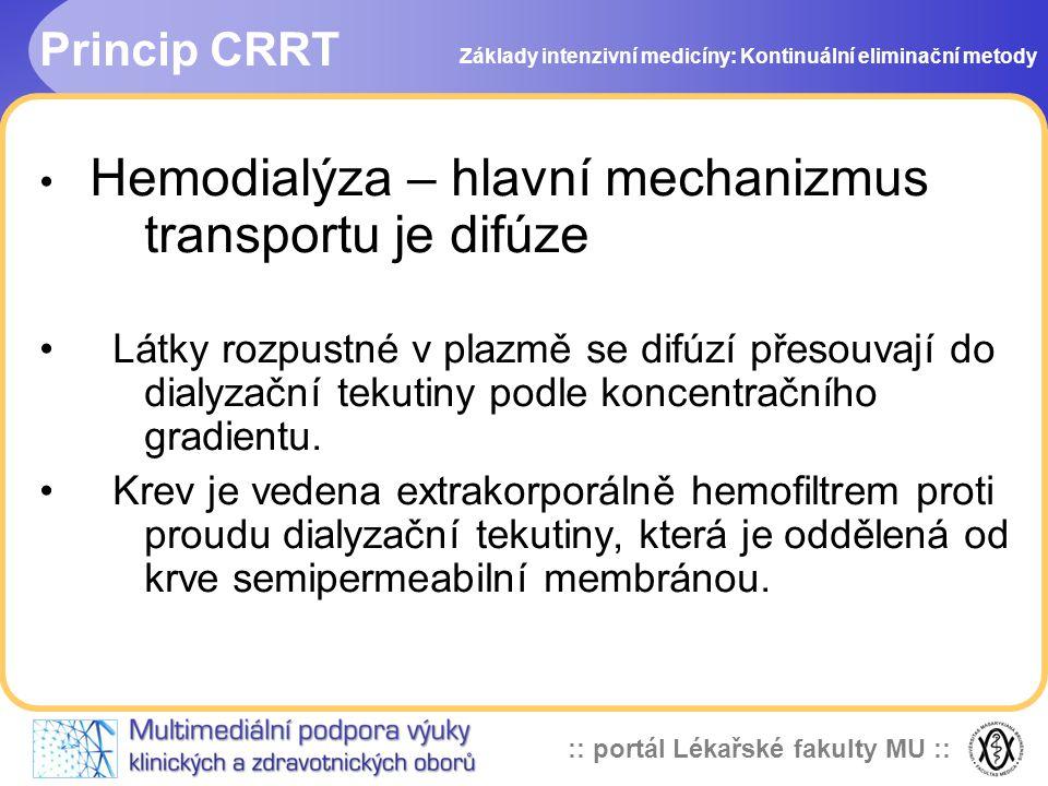 :: portál Lékařské fakulty MU :: Princip CRRT • Hemodialýza – hlavní mechanizmus transportu je difúze • Látky rozpustné v plazmě se difúzí přesouvají