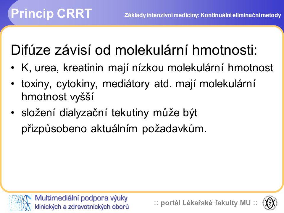 :: portál Lékařské fakulty MU :: Princip CRRT Difúze závisí od molekulární hmotnosti: •K, urea, kreatinin mají nízkou molekulární hmotnost •toxiny, cy