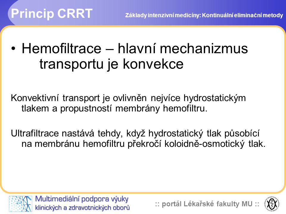 :: portál Lékařské fakulty MU :: Princip CRRT •Hemofiltrace – hlavní mechanizmus transportu je konvekce Konvektivní transport je ovlivněn nejvíce hydr