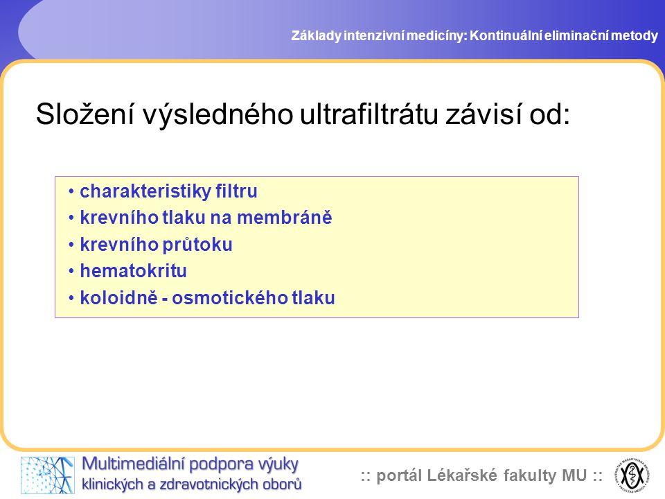 :: portál Lékařské fakulty MU :: Složení výsledného ultrafiltrátu závisí od: Základy intenzivní medicíny: Kontinuální eliminační metody • charakterist