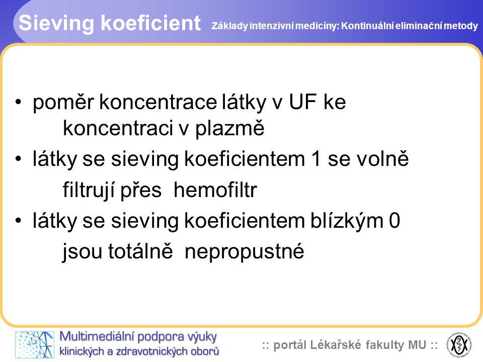:: portál Lékařské fakulty MU :: Sieving koeficient •poměr koncentrace látky v UF ke koncentraci v plazmě •látky se sieving koeficientem 1 se volně fi