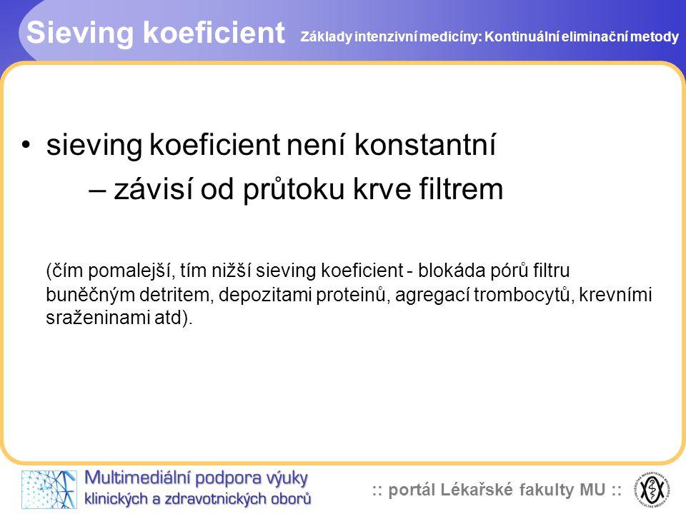 :: portál Lékařské fakulty MU :: Sieving koeficient •sieving koeficient není konstantní – závisí od průtoku krve filtrem (čím pomalejší, tím nižší sie