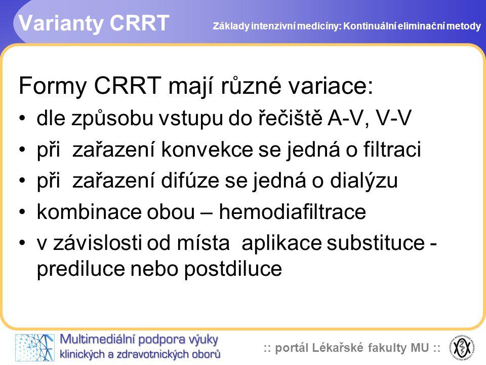 :: portál Lékařské fakulty MU :: Varianty CRRT Formy CRRT mají různé variace: •dle způsobu vstupu do řečiště A-V, V-V •při zařazení konvekce se jedná
