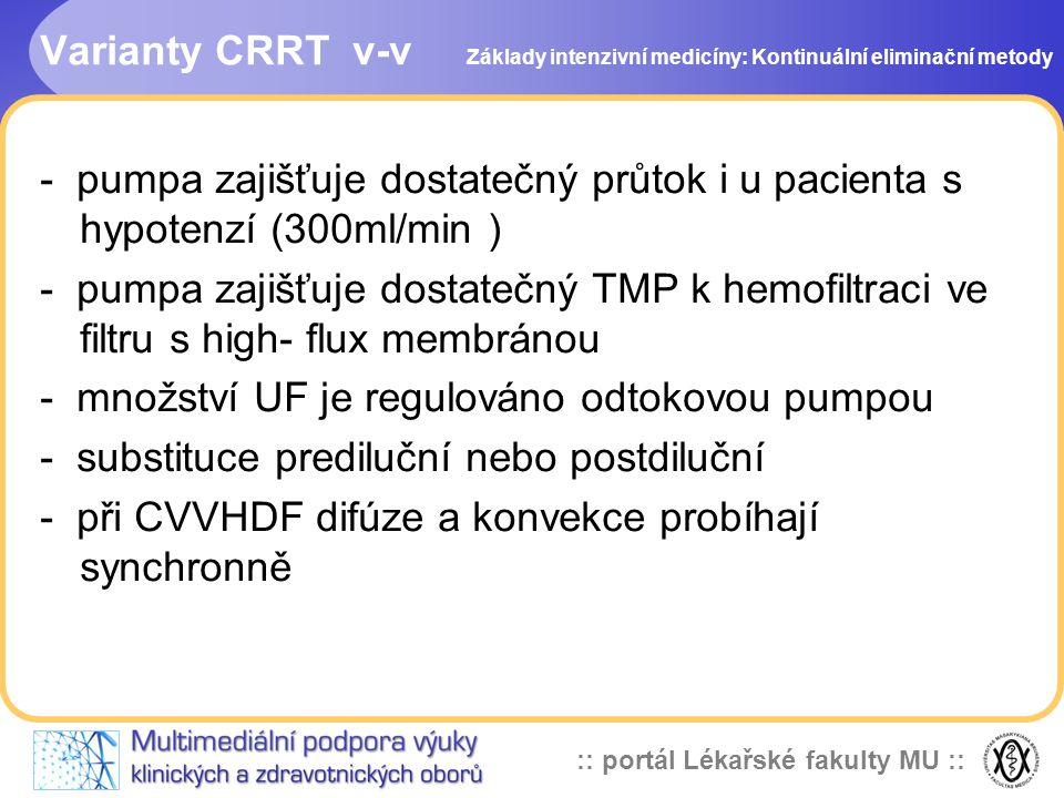 :: portál Lékařské fakulty MU :: Varianty CRRT v-v - pumpa zajišťuje dostatečný průtok i u pacienta s hypotenzí (300ml/min ) - pumpa zajišťuje dostate