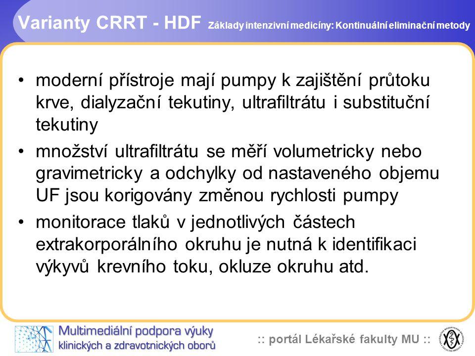 :: portál Lékařské fakulty MU :: Varianty CRRT - HDF •moderní přístroje mají pumpy k zajištění průtoku krve, dialyzační tekutiny, ultrafiltrátu i subs