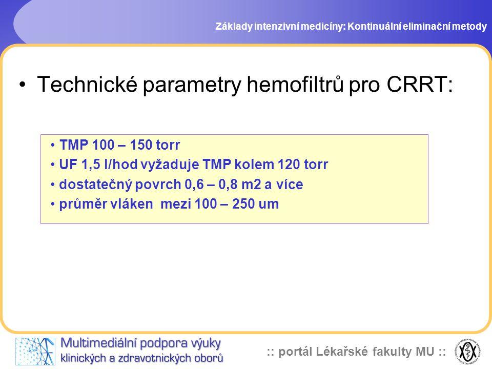 :: portál Lékařské fakulty MU :: •Technické parametry hemofiltrů pro CRRT: Základy intenzivní medicíny: Kontinuální eliminační metody • TMP 100 – 150