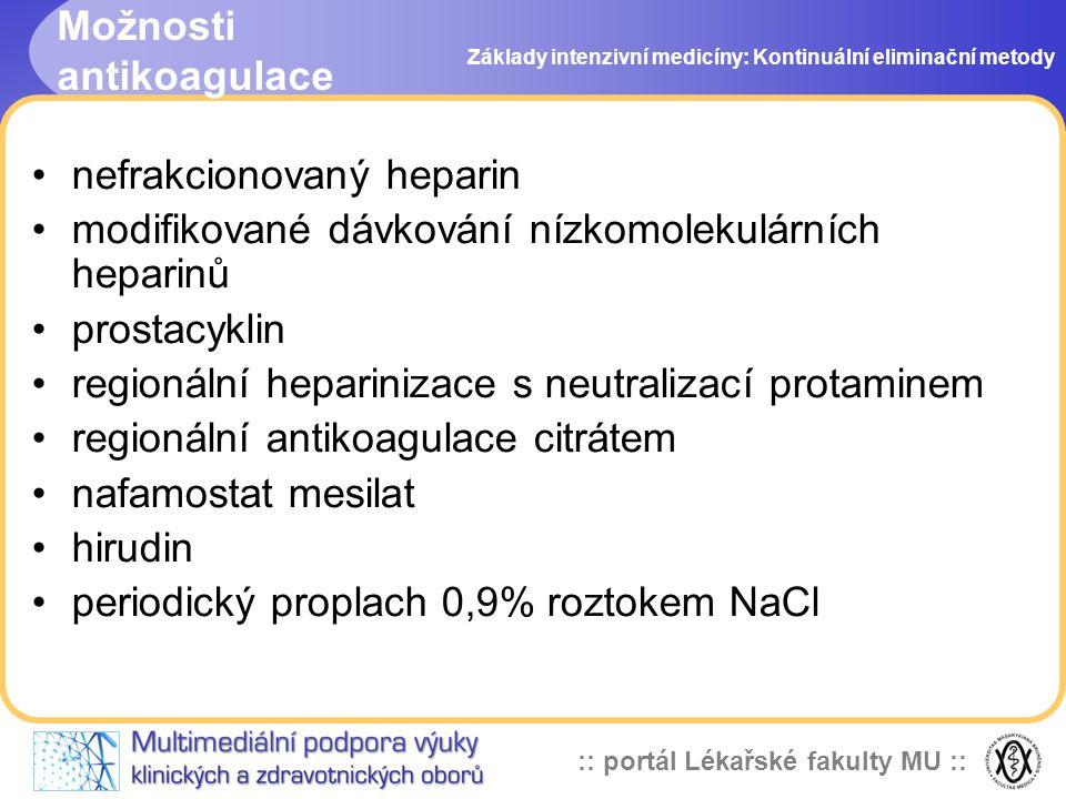 :: portál Lékařské fakulty MU :: Možnosti antikoagulace •nefrakcionovaný heparin •modifikované dávkování nízkomolekulárních heparinů •prostacyklin •re
